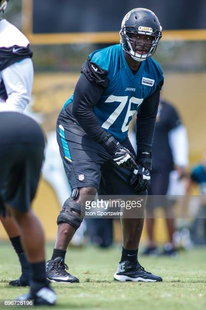 Jacksonville Jaguars offensive lineman Brandon Albert gets ready for a play during minicamp at the Jaguars Practice Facility on June 15 2017 in...