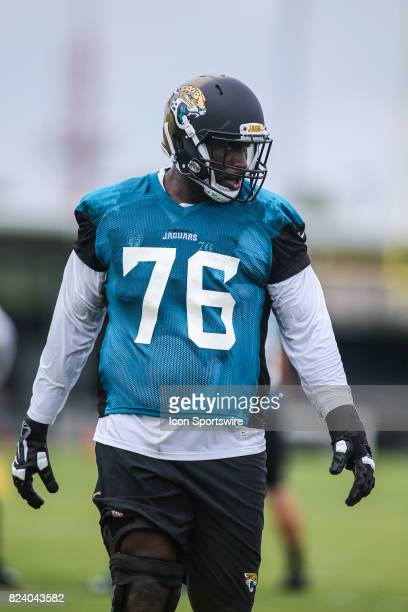 Jacksonville Jaguars offensive lineman Brandon Albert looks on during the Jaguars training camp on July 27 2017 at the Florida Blue Health and...