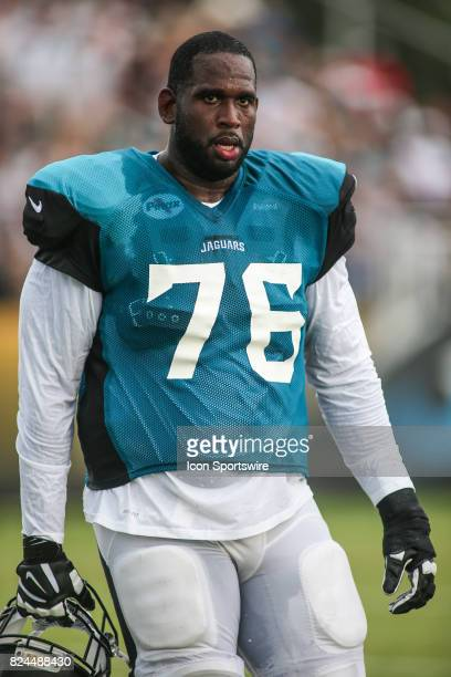 Jacksonville Jaguars offensive lineman Brandon Albert looks on during the Jaguars training camp on July 29 2017 at Florida Blue Health and Wellness...