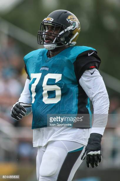 Jacksonville Jaguars offensive lineman Brandon Albert runs through a drill during the Jaguars training camp on July 29 2017 at Florida Blue Health...