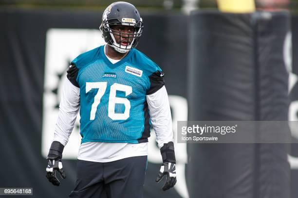 Jacksonville Jaguars offensive lineman Brandon Albert works out during minicamp at the Jaguars Practice Facility on June 13 2017 in Jacksonville Fl