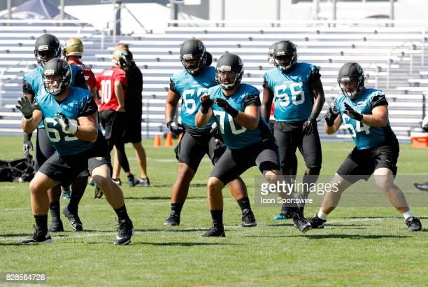 Jacksonville Jaguars offensive lineman Tyler Shatley Jacksonville Jaguars offensive lineman Luke Bowanko and Jacksonville Jaguars offensive lineman...