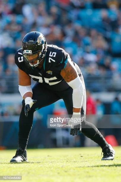 Jacksonville Jaguars Offensive Tackle Ereck Flowers lines up for a play during the game between the Washington Redskins and the Jacksonville Jaguars...