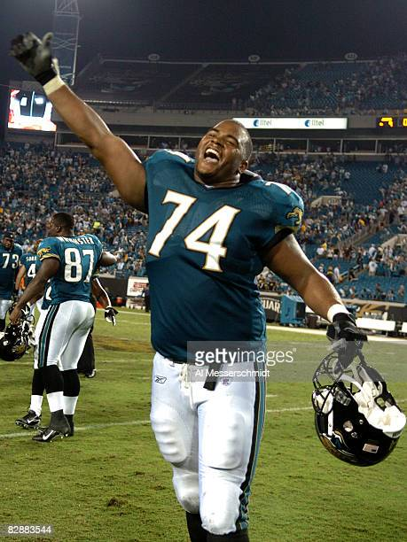 Jacksonville Jaguars offensive tackle Maurice Williams celebrates a victory against the Pittsburgh Steelers September 18 2006 in Jacksonville The...
