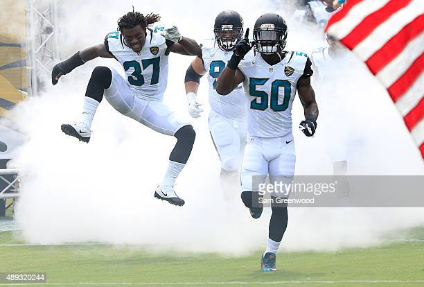 Jacksonville Jaguars players enter the field before the game against the Carolina Panthers at EverBank Field on September 13 2015 in Jacksonville...