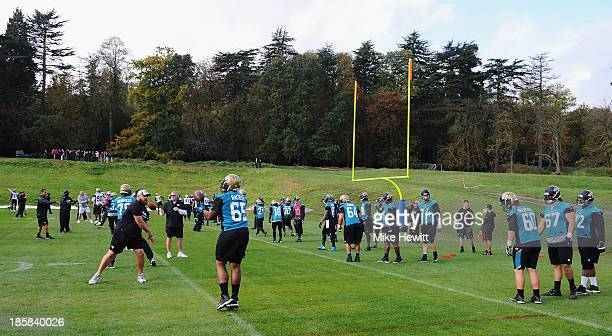 Jacksonville Jaguars players in action during a training session at Pennyhill Park Hotel ahead of Sunday's NFL match at Wembley Stadium between...