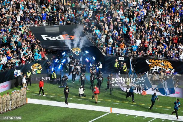 Jacksonville Jaguars' players run out during the NFL London 2021 match between Miami Dolphins and Jacksonville Jaguars at Tottenham Hotspur Stadium...