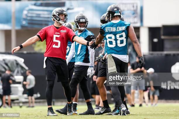 Jacksonville Jaguars quarterback Blake Bortles and Jacksonville Jaguars tight end Austin SaferianJenkins after a play during the Jaguars Minicamp on...
