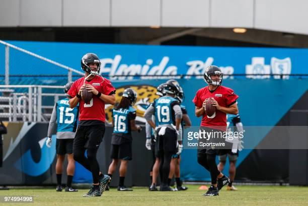 Jacksonville Jaguars quarterback Blake Bortles and Jacksonville Jaguars quarterback Cody Kessler work out during the Jaguars Minicamp on June 14 2018...