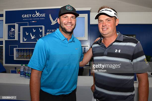 Jacksonville Jaguars quarterback Blake Bortles and PGA tour pro Jeff Overton pose inside the Grey Goose The Oasis Lounge at The Players Championship...