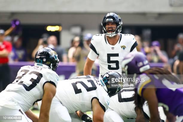 Jacksonville Jaguars quarterback Blake Bortles calls an audible at the line during the preseason game between the Jacksonville Jaguars and the...
