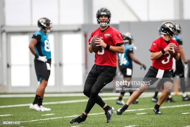 Jacksonville Jaguars quarterback Blake Bortles drops back during the Jaguars OTA on May 22 2018 at Dream Finders Homes Flex Field at Daily's Place in...
