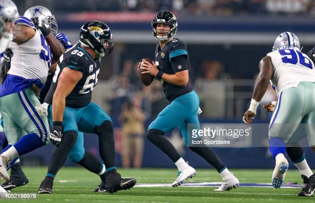 Jacksonville Jaguars quarterback Blake Bortles drops back to pass during the game between the Jacksonville Jaguars and Dallas Cowboys on October 14...