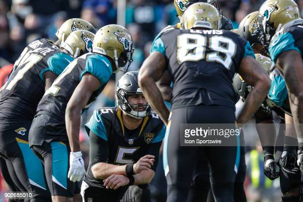 Jacksonville Jaguars quarterback Blake Bortles in the huddle during the AFC Wild Card game between the Buffalo Bills and the Jacksonville Jaguars on...