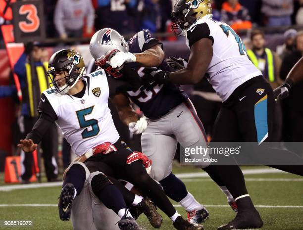 Jacksonville Jaguars quarterback Blake Bortles is dropped for a sack late in the fourth quarter The New England Patriots host the Jacksonville...