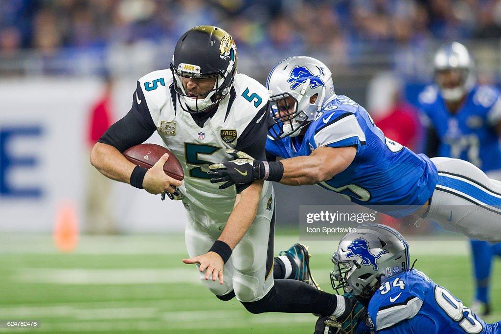 Jacksonville Jaguars Quarterback Blake Bortles Is Sacked