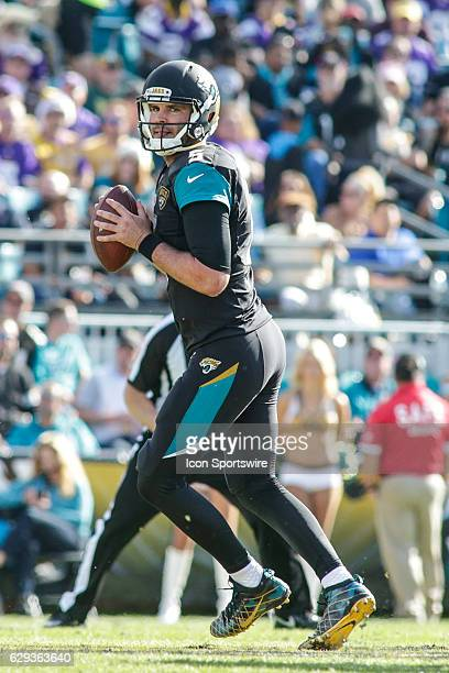 Jacksonville Jaguars Quarterback Blake Bortles looks for a receiver during the NFL game between the Minnesota Vikings and the Jacksonville Jaguars on...