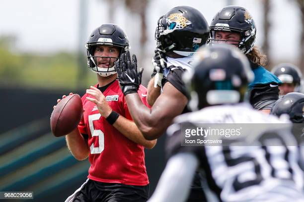 Jacksonville Jaguars quarterback Blake Bortles looks for a receiver during the Jaguars OTA on June 5 2018 at Dream Finders Homes Practice Complex in...