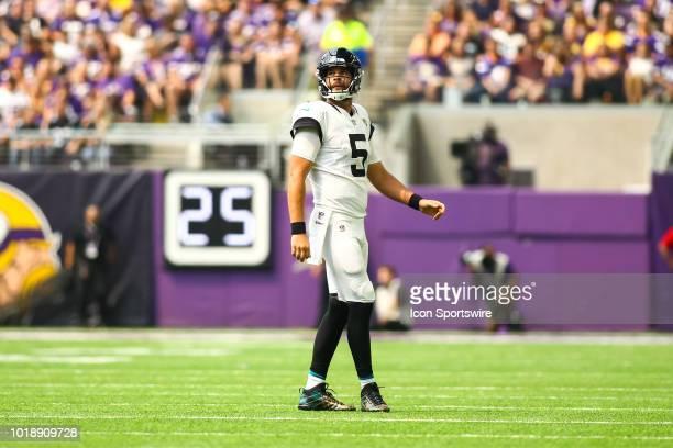 Jacksonville Jaguars quarterback Blake Bortles looks on during the preseason game between the Jacksonville Jaguars and the Minnesota Vikings on...