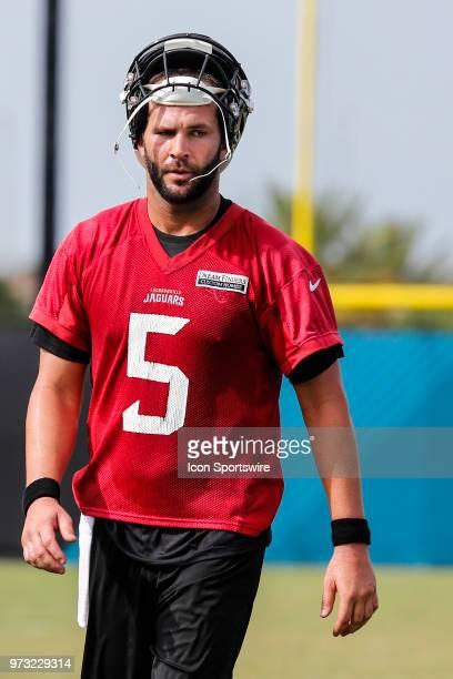 Jacksonville Jaguars quarterback Blake Bortles looks on during the Jaguars Minicamp on June 13 2018 at Dream Finders Homes Practice Complex in...