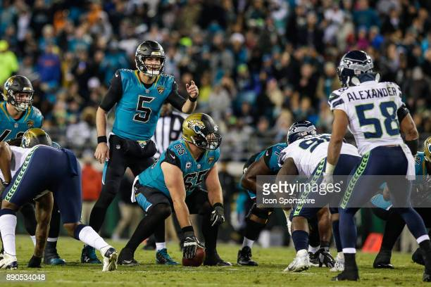 Jacksonville Jaguars quarterback Blake Bortles signals at the line during the game between the Seattle Seahawks and the Jacksonville Jaguars on...