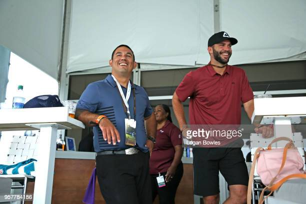 Jacksonville Jaguars quarterback Blake Bortles talks with a fan during the third round of THE PLAYERS Championship on THE PLAYERS Stadium Course at...