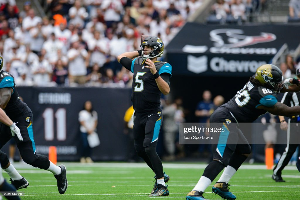 Jacksonville Jaguars quarterback Blake Bortles (5) throws a pass during the NFL game between the Jacksonville Jaguars and the Houston Texans on September 10th, 2017 at NRG Stadium in Houston, TX.