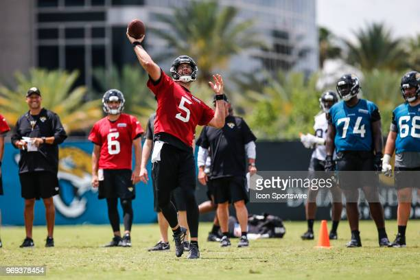 Jacksonville Jaguars quarterback Blake Bortles throws a pass during the Jaguars OTA on June 7 2018 at Dream Finders Homes Practice Complex in...