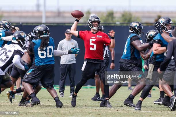 Jacksonville Jaguars quarterback Blake Bortles throws a pass during the Jaguars Minicamp on June 13 2018 at Dream Finders Homes Practice Complex in...