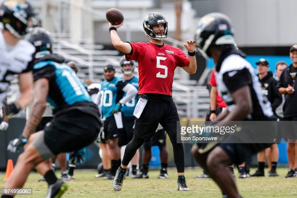 Jacksonville Jaguars quarterback Blake Bortles throws a pass during the Jaguars Minicamp on June 14 2018 at Dream Finders Homes Practice Complex in...