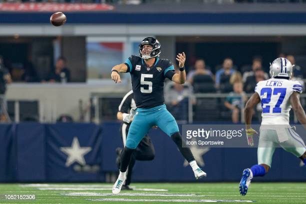 Jacksonville Jaguars quarterback Blake Bortles throws from am awkward angle during the game between the Jacksonville Jaguars and Dallas Cowboys on...