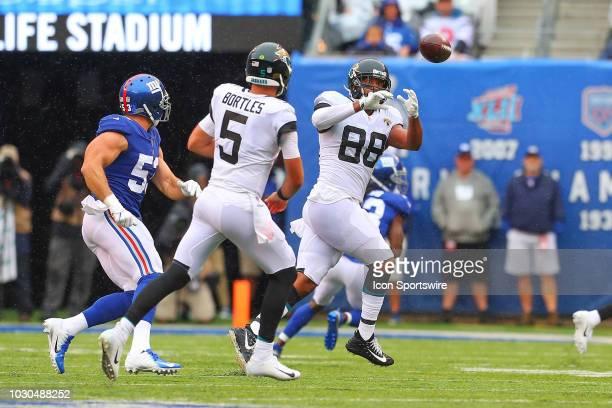 Jacksonville Jaguars quarterback Blake Bortles throws the ball to Jacksonville Jaguars tight end Austin SeferianJenkins during the National Football...