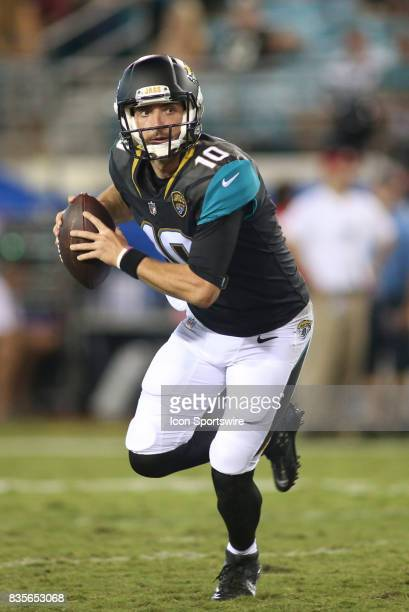 Jacksonville Jaguars quarterback Brandon Allen scrambles during the preseason game against the Tampa Bay Buccaneers on August 17 at EverBank Field in...