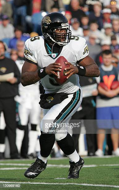 Jacksonville Jaguars quarterback David Garrard looks upfield during the game against the Buffalo Bills at Ralph Wilson Stadium in Orchard Park New...