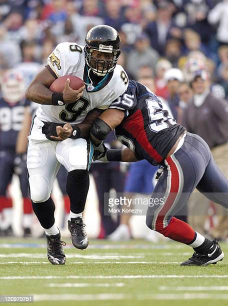 Jacksonville Jaguars quarterback David Garrard runs for a critical first down late in a game against the Buffalo Bills at Ralph Wilson Stadium in...