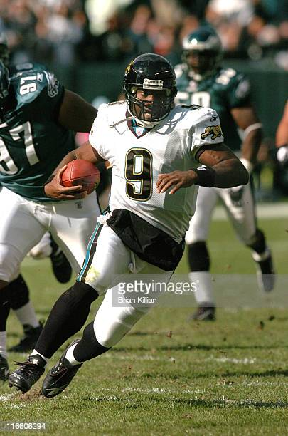 Jacksonville Jaguars quarterback David Garrard runs out of the pocket against the Phialdelphia Eagles on Sunday October 29 2006 at Lincoln Financial...