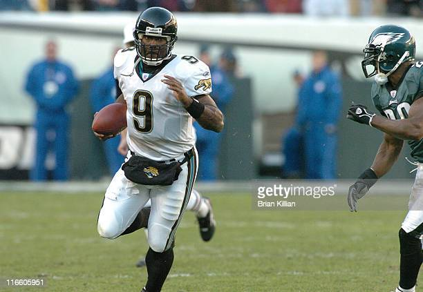 Jacksonville Jaguars quarterback David Garrard tries to outrun a Philadelphia Eagles defender on Sunday October 29 2006 at Lincoln Financial Field in...
