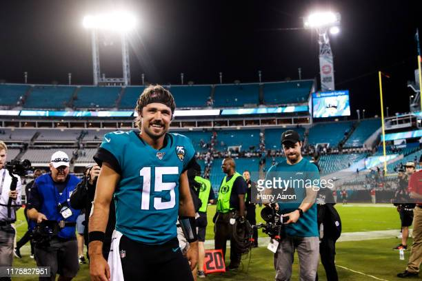 Jacksonville Jaguars quarterback Gardner Minshew II 15 after defeating the Tennessee Titans at TIAA Bank Field on September 19 2019 in Jacksonville...