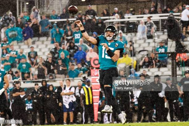 Jacksonville Jaguars quarterback Gardner Minshew II throws a pass in the second quarter against the Tennessee Titans at TIAA Bank Field on September...