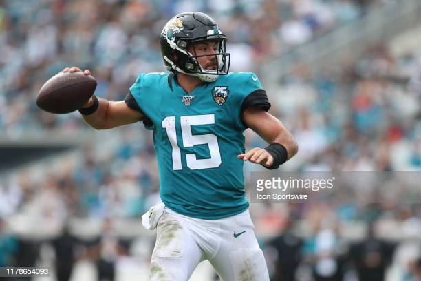 Jacksonville Jaguars Quarterback Gardner Minshew II throws a pass during the game between the New York Jets and the Jacksonville Jaguars on October...