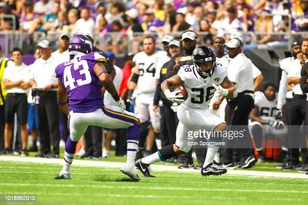 Jacksonville Jaguars running back Brandon Wilds rushes in the 3rd quarter during the preseason game between the Jacksonville Jaguars and the...