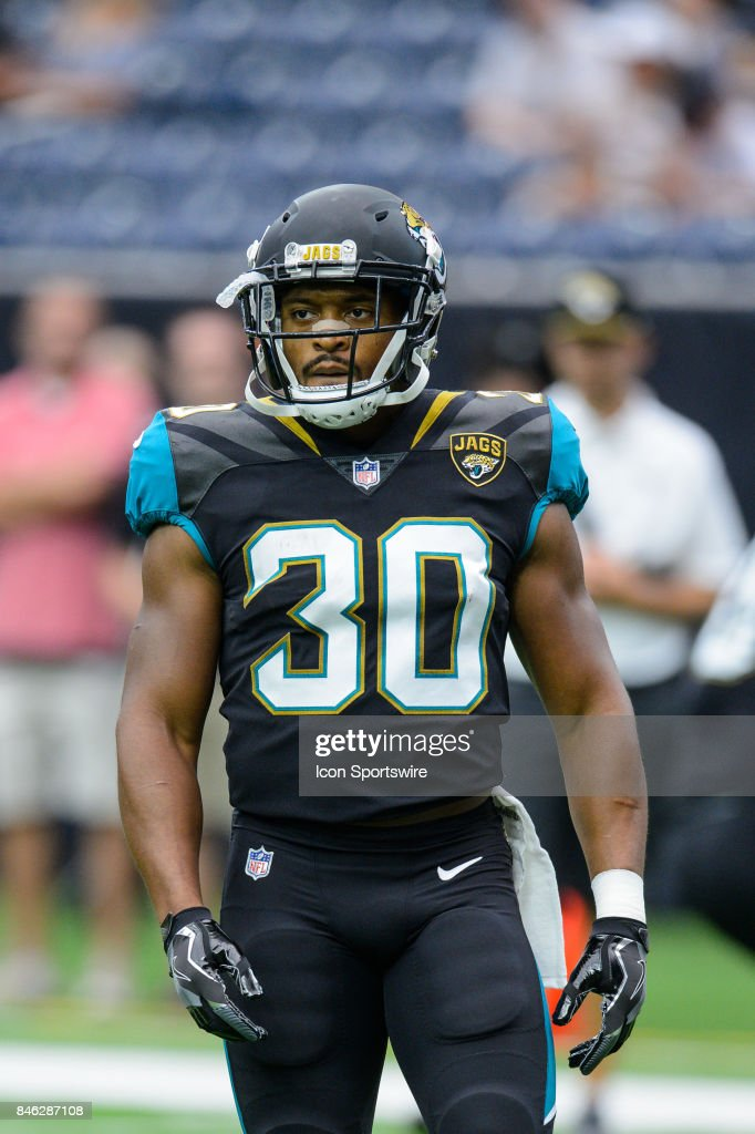 Jacksonville Jaguars running back Corey Grant (30) warms up before the NFL game between the Jacksonville Jaguars and the Houston Texans on September 10th, 2017 at NRG Stadium in Houston, TX.