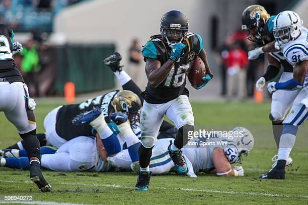 Jacksonville Jaguars running back Denard Robinson runs for a gain during the game between the Jacksonville Jaguars and the Indianapolis Colts at...