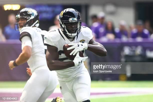 Jacksonville Jaguars running back Leonard Fournette runs after getting the hand off during the preseason game between the Jacksonville Jaguars and...