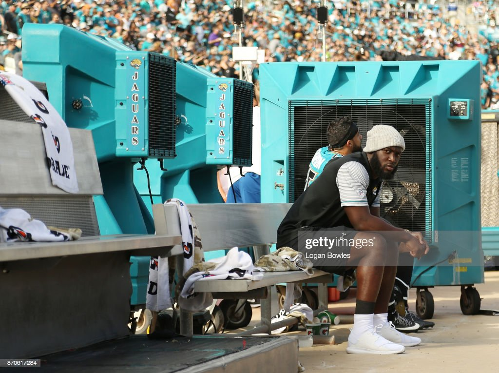 Jacksonville Jaguars running back Leonard Fournette #27 sits on the bench after he was deactivated for Sunday's game against Cincinnati after he violated a team rule, the team announced at EverBank Field on November 5, 2017 in Jacksonville, Florida.