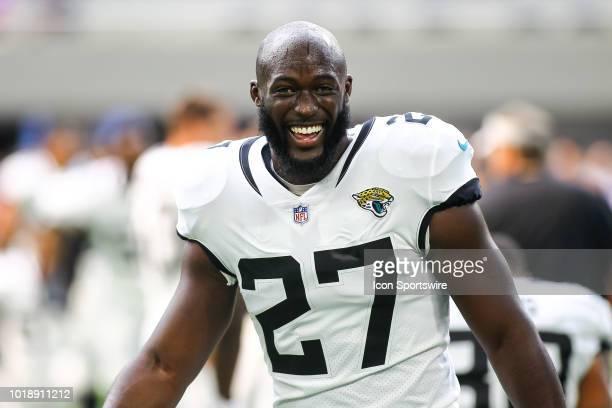 Jacksonville Jaguars running back Leonard Fournette smiles during warmups before the start of the preseason game between the Jacksonville Jaguars and...