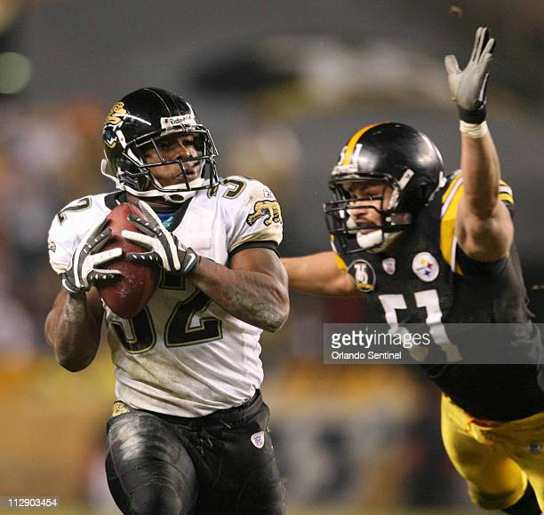 Jacksonville Jaguars running back Maurice JonesDrew halls in a pass for a touchdown againt the Pittsburgh Steelers during the second quarter of an...