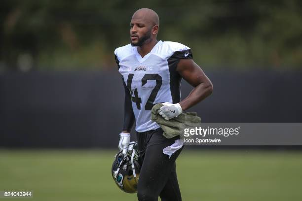 Jacksonville Jaguars safety Barry Church jogs during the Jaguars training camp on July 27 2017 at the Florida Blue Health and Wellness Practice Field...