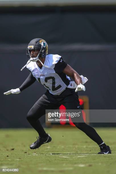 Jacksonville Jaguars safety Barry Church runs through a drill during the Jaguars training camp on July 28 2017 at Florida Blue Health and Wellness...