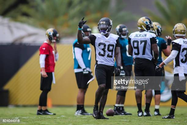 Jacksonville Jaguars safety Tashaun Gipson looks on during the Jaguars training camp on July 27 2017 at the Florida Blue Health and Wellness Practice...
